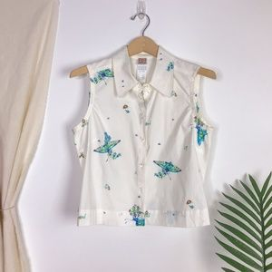 Olily Butterfly Sleeveless Button Down Blouse